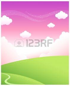 Diese Abbildung ist eine gemeinsame Naturlandschaft. Weg über grüne Berge und der Himmel