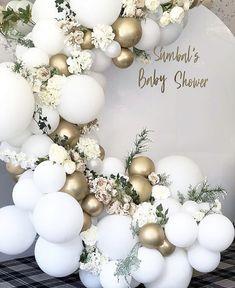 Balloon Garland Kit-DIY White, Chrome Gold, Grey-Party Decorations-Weddings - New Deko Sites Deco Baby Shower, Baby Shower Balloons, Shower Party, Baby Shower Themes, Baby Boy Shower, Baby Shower Decorations, Bridal Shower, Wedding Decorations, Birthday Balloon Decorations