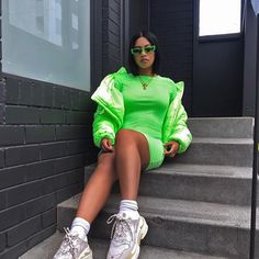 Neon Green - Newest Color Trend - FashionActivation Spring Outfits, Trendy Outfits, Cute Outfits, Fashion Outfits, Neon Green Outfits, Neon Dresses, Festival Outfits, Urban Fashion, Streetwear Fashion