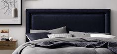 Bailey Bedhead in smokey blue felt. Home Decor Bedroom, Bedroom Furniture, Master Bedroom, Blue Bedding, How To Make Bed, New Room, Interior Design, Bedrooms, Headboards