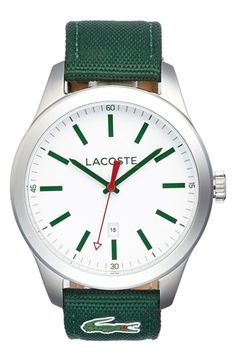 Men's Lacoste 'Auckland' Canvas Strap Watch