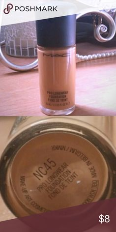 😜LAST CALL Mac Pro longwear  NC45 25%-30% left Mac Pro longwear foundation NC45 Theres 25%-30% left. There's nothing wrong with it just switched foundations. MAC Cosmetics Makeup Foundation