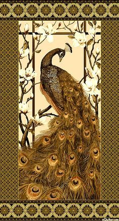 """White, Sand, Sepia, Chocolate, Espresso, Chai, Gold Metallic Elegant and sophisticated, this fabulously feathered peacock preens while resting on the branches of a blooming magnolia in this panel shimmering with rich colors and sweeping movement. Highlighted with gleaming gold metallic, this panel is filled with enough bewitching detail to entrance you for years to come! 24"""" panel, with gold metallic, from the 'Peacock Paradise 2' collection by Deborah Edwards for Northcott Fabrics."""