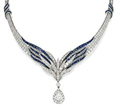PLATINUM, SAPPHIRE AND DIAMOND NECKLACE, E. PEARL    Of winged graduated design set with round diamonds weighing approximately 23.35 carats, accented by calibré-cut sapphires, supporting a pendant set with a pear-shaped diamond weighing approximately 3.35 carats, framed by round diamonds, length 15 inches, signed E. Pearl, maker's mark.