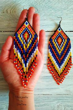 beautiful red earrings  native american beaded earrings tribal earrings embroidered jewelry gift for anniversary gift for mom gift for women