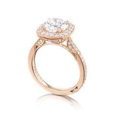 TACORI Halo 18K - Rose Gold Diamond Engagement Ring HT2652CU8PK #ArthursJewelers