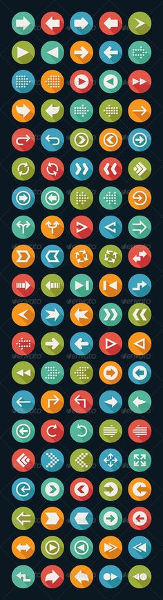 100 Arrow Sign Icons by ratch0013 100 arrow sign icons with black background , eps10 vector format