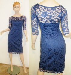 TIFFANY ROSE Nylon Viscose Royal Blue Floral Paisley Lace Bateau Neck Dress 1 #TIFFANYROSE #StretchBodycon #Cocktail
