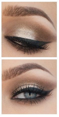 Maquiagem dia. Daylight makeup. Golden metallic, smokey / smoked, eyeliner. Dourador metálico, esfumado, delineador gatinho.