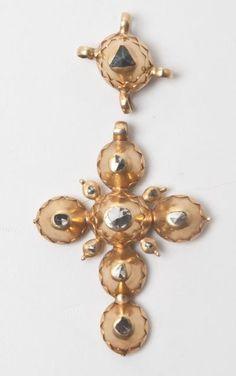 croix picarde, or et diamants taillés en rose
