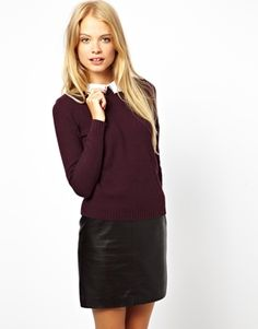 Image 1 of ASOS Jumper With Lace Collar Detail