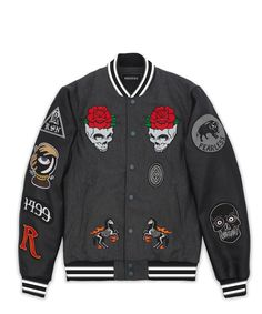 Wool exterior with PU sleeves and quilted satin interior lining, embroidered patches, full snap front closure, striped wool collar, cuffs and bottom hem. Fits true to size. Swag Outfits, Boy Outfits, Designer Jackets For Men, Fashion Capsule, Embroidered Jacket, Tank Shirt, Cool Shirts, Street Wear, Bomber Jacket
