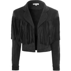 Black Suedette Fringe Crop Jacket ($76) ❤ liked on Polyvore featuring outerwear, jackets, black, cropped jacket, long fringe jacket, lapel jacket, reversible jacket and long jacket