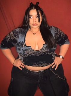 Thick Girls Outfits, Girl Outfits, Cute Outfits, Fashion Outfits, Fat Girl Fashion, Curvy Fashion, Plus Size Fashion, Plus Size Goth, Plus Size Girls