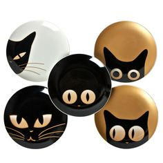 "Cat Eye 7.5"" Plate Set Of 5 by  Miya"