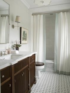 Phoebe Howard: Elegant bathroom design with marble basketweave tiles floor, wood bathroom vanity with ...