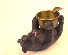 Black Forest Hand Carved Wood Bear w Brass Ashtray by MissMelody, $156.00