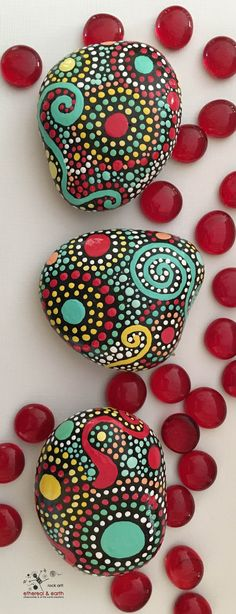 Beautiful Hand Painted Stones are the perfect accent for any nature inspired decor. Each stone is unique and hand crafted. ethereal & earth - otherworldly & of this world creations. FREE Shipping in the US!
