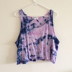 Lavender and Navy Tie-Dye Crop Top cute lavender crop-top with navy tye-dye! would be really cute over a bathing-suit as a comfy outfit to the beach! PacSun Tops Crop Tops
