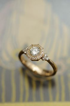 福永宝飾店 octagon diamond gold ring,diamonds,octagonal ring,classic al engagement ring,