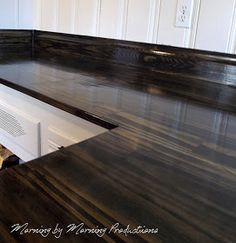 Morning By Morning Productions: DIY Kitchen Countertops Using Pine, Black  Stain And Polyurethane    Pretty Wood Countertop. Thinking About What A Wood  ...
