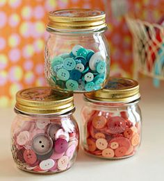 Show off a rainbow collection of buttons in small glass jars. Clear containers make it easy to find the exact embellishment needed