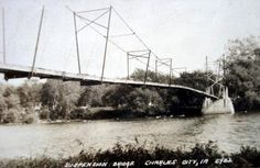 Suspension Bridge in Charles City, Iowa About 1922 Charles City Iowa, Old Bridges, Suspension Bridge, Covered Bridges, Travel And Tourism, Best Memories, Places Ive Been, Spaces, Steel