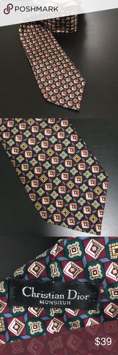 Christian Dior Monsier necktie This Christian Dior Monsieur men's necktie is in excellent used condition, it features a classic diamond pattern with blue, burgundy, green, yellow and brown, for a timeless accessory in your closet. Dior Accessories Ties