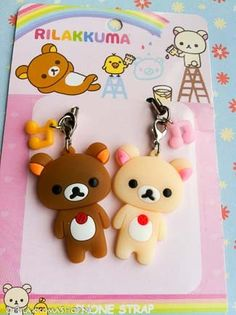 Rilakkuma & Korilakkuma bear couple phone charm/MP3/MP4 Straps/bag Pendant  http://www.rilakkumashop.nl/shop/rilakkuma-korilakkuma-bear-couple-phone-charmmp3mp4-strapsbag-pendant/
