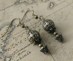 Steampunk hot air balloon earrings - victorian antique vintage style