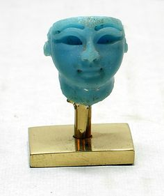 Inlay, king's head. New Kingdom, Ramesside ca. 1295–1070 B.C. Egypt. Medium: Turquoise glass