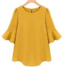 Women's Tops Puff Sleeve Fitted Chiffon Shirt Casual Tee Career Blouse--4 Colors #Unbranded #Blouse #Casual