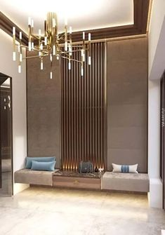 Elevate your entryway decor with a modern, detailed chandelier. Find more lighti. Elevate your entryway decor with a modern, detailed chandelier. Find more lighting ideas on modernc Foyer Design, Lobby Design, Entry Way Design, House Design, Design Hotel, Wall Design, Design Suites, Nest Design, Entryway Furniture