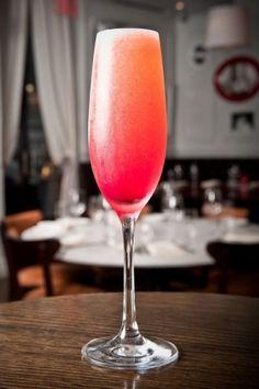 the volstead: st. germain, vodka, champagne, strawberries, lemon juice. a must try! by madiee87