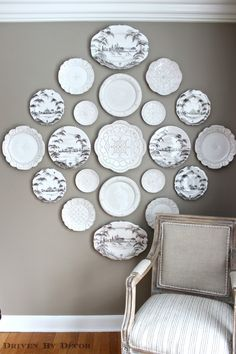 Michelle, I love this example of a decorative Plate Wall for your DR. Great balance of colored plates with subtle white on white patterns as well.