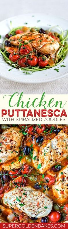 This low-carb Chicken alla Puttanesca is packed with flavour but low on calories. Serve with spiralized zoodles (a.ka. courgette noodles)
