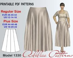 Gored Maxi Skirt Sewing Pattern for sizes 12-22