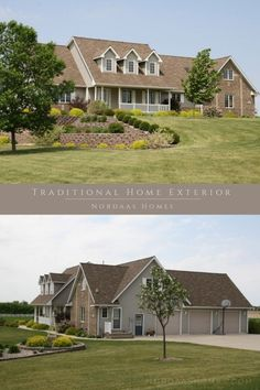 This traditional home exterior is a perfect example of a timeless house build that can give you style inspiration for your new home building or remodeling project. Home by Nordaas American Homes. #traditionalhome #exterior #homes #paintcolors #brick