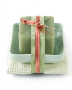 Clever way of Wrapping Homemade Carton-Mold Soaps, in a dish, while adding soft washcloth! Recipe/Instructions included