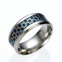 Stainless Steel 'Star Of David' Gold On Blue Carbon Fiber Ring