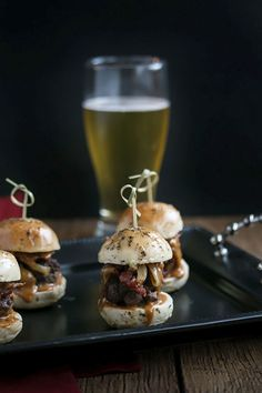 Whiskey Beef Sliders with Caramelized Onions, Bacon & Homemade Buns