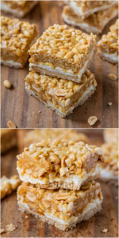 Peanut Chewy Payday Bars - Like the classic candy bar and with a layer of marshmallow, too!  Soft and chewy, salty-and-sweet all in one easy bar!