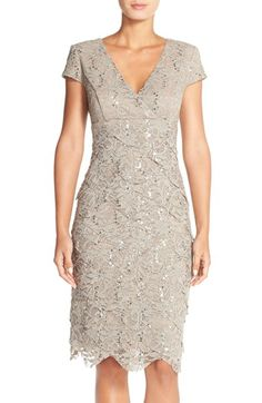 For mama P? Alex Evenings Sequin Tiered Lace Sheath Dress (Regular & Petite) available at #Nordstrom