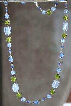 Semi Precious Gemstones, Glass Beads, Beaded Necklace, Pearls, Facebook, Crystals, Diamond, Green, Handmade