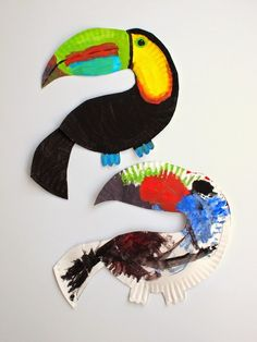 Make Toucan Bird Crafts out of 1 paper plate