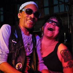Memphis musicians always have something to cheer about!  Classic snapshot of the legendary Teenie Hodges and Ms Barbara Blue!