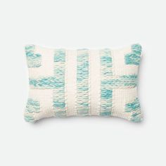 Blue and Ivory 13-Inch x 21-Inch Decorative Pillow with Down Insert