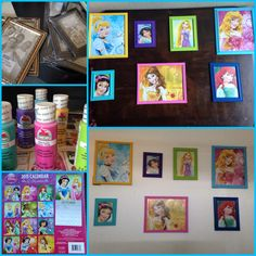 $1 Frames, 50 cent paints, $1 calendar = $11 DIY princess room picture frames. (Work in progress)