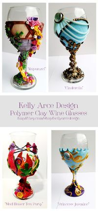 """Hand made """"Disney"""" inspired polymer clay wine glasses! Perfect Easter Gifts!"""