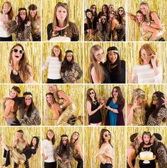 Gold week is on, and we've got a glitzy photo booth to match! Photo Booth Setup, Photo Booth Backdrop, Photo Booths, Diy New Years Eve Decorations, Golden Birthday Parties, Party Hacks, Party Ideas, New Years Party, Animal Party